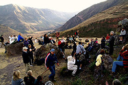 The group gathers for a ceremony and meditation with Gregg at mystical Pisac